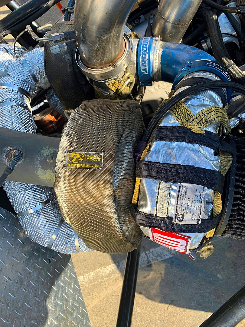 Heatshield Products Lava Turbo Shield installed on the BroDozer monster truck